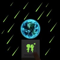 Luminous Cartoon New 3D wall Stickers for Kids Room meteor shower Glow in the Dark wall stickers bedroom home decor living room