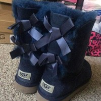 """""""UGG"""" Women male Fashion Wool Snow Boots Navy blue"""