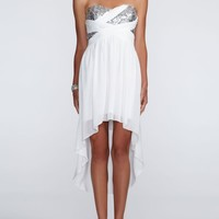 Strapless Sheer Matte Dress with Sequin Bodice - David's Bridal- mobile