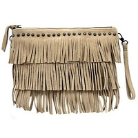 Women's Suede Leather Fringe Clutch In Natural