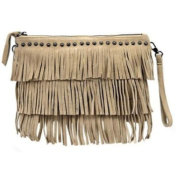 Women/'s dark brown handmade handbag made of leather and rabbit fur on a long handle with fringe and original details made in the USA.
