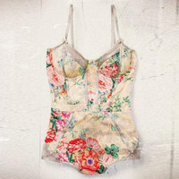 Fashion Floral Bodysuit One Piece Swimwear Swimsuit