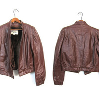 Vintage Cropped Cafe Motorcycle Jacket 80s Brown Leather Wilsons Faux Fur Lined Moto Coat Zip Up 1980s Cropped Jacket Womens Small Medium