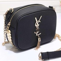 Tagre YSL Women Shopping Leather Metal Chain Crossbody Satchel Shoulder Bag