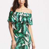 Fashion Off Shoulder Leaves Print Frills Strapless Mini Dress