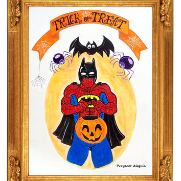 A4 Halloween Print. Spiderman Trick or Treat Poster