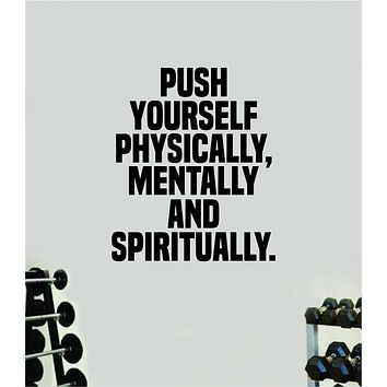 Push Yourself V5 Quote Wall Decal Sticker Vinyl Art Wall Bedroom Room Home Decor Inspirational Motivational Sports Lift Gym Fitness Girls Train Beast