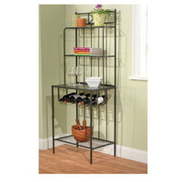 Sturdy Baker's Rack With Four Shelves Stylish Kitchen Furniture Black Finish New