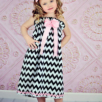 Strapless Toddler Girl Black and White Chevron Dress, Perfect for Summer or a Special Occasion, Sizes 1T 2T 3T or 4T, LDM