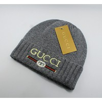 GUCCI Fashion Women Men Casual Embroidery Knit Hat Warm Woolen Hat Grey I13829-1