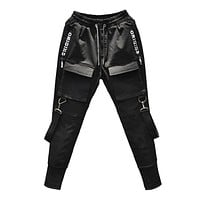 Streetwear Black Harem Pants Men Elastic Waist Punk Pants With Ribbons