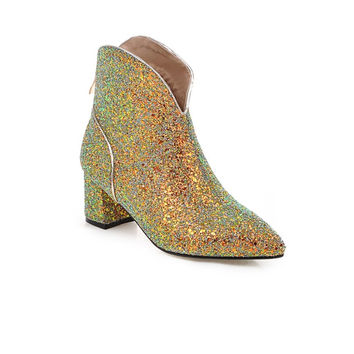 4 Colors Popular Women Ankle Boots Glitter Pointed Toe Square Heels Boots Black Green Gold Silver Shoes Woman Size 4-10.5