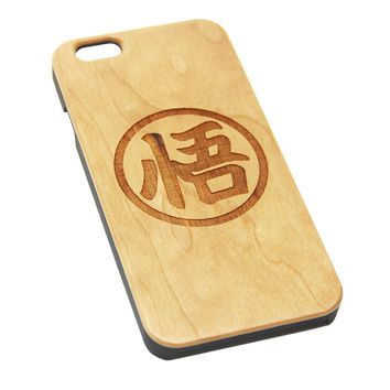Goku Symbol Inspired  Natural Wood Engraved iPhone 6s Case iPhone 6s plus Cover iPhone 6 5s 5 Real Wooden Case