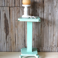 Vintage Distressed Shabby Chic Turquoise Blue Side / End Table / Pot Stand