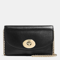 Clutch Wallet With Chain in Smooth Leather