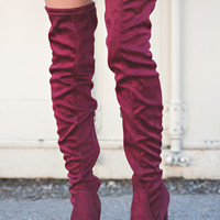Nothing to Wine About Thigh High Heeled Boot (Burgundy)