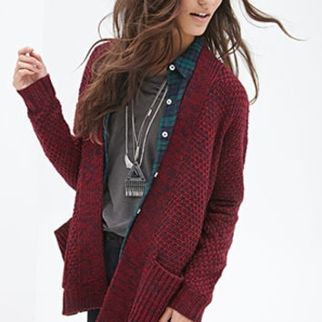 Textured Open-Front Cardigan