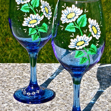 Painted Blue Wine Glasses With Daisies And Crystal Wine Charms