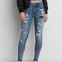 AEO Denim X4 Hi-Rise Jegging, Patched And