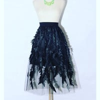 Black feathers Mesh Skirt