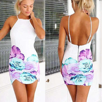 Sexy Womens Backless Floral Print Dress