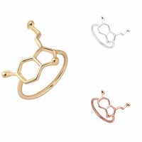 Happiness Ring Serotonin Molecule Inspired Ring - Gold, Rose Gold and Silver