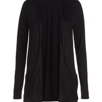 Black Drop Pocket Boyfriend Cardigan