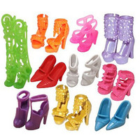 Bluelans 10 Pairs Fashion Assorted Different Shoes Boots for Barbie Doll Girls Toy Gift Random Color