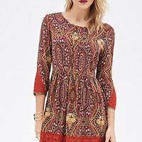 LOVE 21 Paisley Print Dress Rust/Eggplant