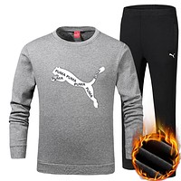 Boys & Men Puma Top Sweater Pullover Pants Trousers Set Two-Piece Sportswear