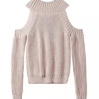 Cold Shoulder Sweater in Ribbed Knit