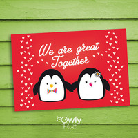 Printable Penguin Valentines day card. Ready to  print Penguin Love Card. Cute Valentines day card