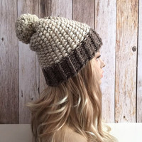 Super Chunky oatmeal and barley knitted women hat beanie, gift or for you