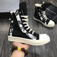 Rick Owens  Trending Women's Black Leather Side Zip Lace-up Ankle Boots Shoes High Boots
