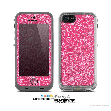 The Pink & White Abstract Illustration V3 Skin for the Apple iPhone 5c LifeProof Case