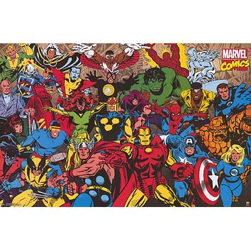 Marvel Comics Retro Superheroes Poster 22x34