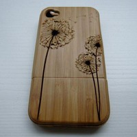 [grdx01107]Dandelion natural bamboo hard cover case for iphone 4/4s/5