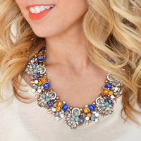 Fantastic Faux Crystal Statement Necklace Rhinestone Chunky Bib Collar Gold Tone Turquoise Mint Green