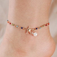 Starfish and Pearl Chain Link Anklet
