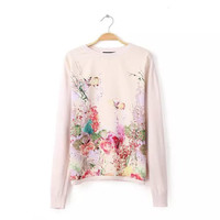 Printed Long Sleeve Knit Sweater