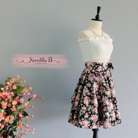 Spring's Whisper Floral Skirt Spring Summer Sweet Black Pink Floral Skirt Party Cocktail Skirt Wedding Bridesmaid Skirt Black Floral Skirts