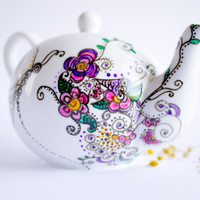 Teapot Teapot Spring Party hand painted ceramics by CraftUnikat