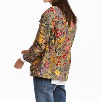 Patterned cargo jacket - Khaki green/Floral - Ladies | H&M GB