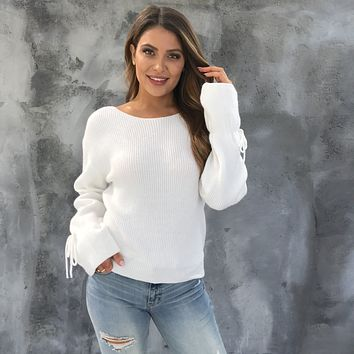 Tied to You Knit Sweater in Ivory