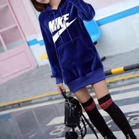 """Nike"" Women Casual Fashion Letter Logo Print Middle Long Section Long Sleeve Hooded Sweater Mini Dress"