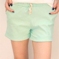 Mint Green Elastic Band Drawstring Casual Shorts