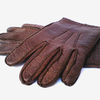 Soft leather gloves genuine leather gloves chocolate brown leather gloves soviet leather gloves mens leather gloves man Christmas gift