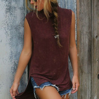 Take It Easy Burgundy Light Acid Wash Cowl Neck High Low Tank