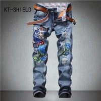 fashion full length cargo men Jean embroidered Printed holes ripped denim trousers Casual hip hop biker Straight hombre Vaqueros