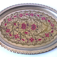 Metal Vintage Tray, Brass, Handpainted Flowers, Silver Tone, Pink, Home Decor
